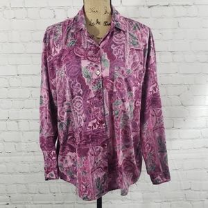 VINTAGE 90'S PINK FLORAL BUTTON DOWN SHIRT